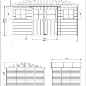מחסן גינה עץ GARDEN TOP מעץ מלא 418X318 דגם M331